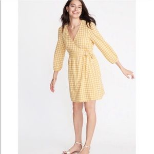 NWT Old Navy Yellow Gingham Wrap Dress